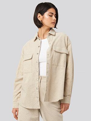 NA-KD Classic Corduroy Overshirt beige