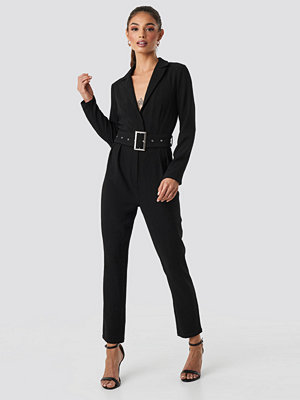 Jumpsuits & playsuits - Rut & Circle Ofelia Belt Jumpsuit svart
