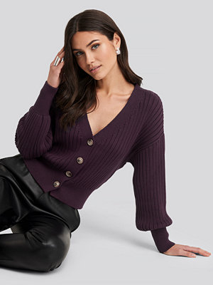 NA-KD Ribbed Cropped Cardigan lila