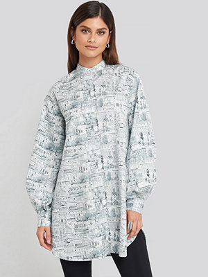 NA-KD Trend Oversized Printed Cotton Shirt Dress multicolor
