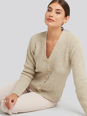 NA-KD Knitted Hairy Cardigan beige