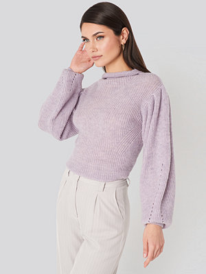 NA-KD Trend Ribbed High Neck Ballon Sleeve Knitted Sweater lila