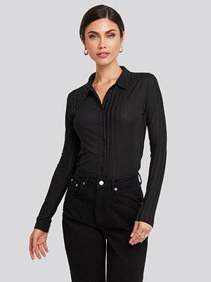 Trendyol Ribbed Detailed Shirt svart