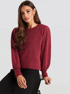 NA-KD Puff Sleeve Wide Rib Knitted Sweater röd