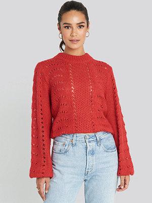 NA-KD Pattern Knitted Round Neck Sweater röd