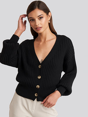 NA-KD Ribbed Cropped Cardigan svart