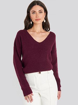 NA-KD Trend Oversized V Neck Knitted Sweater röd