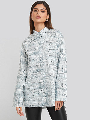 NA-KD Trend Oversized Printed Cotton Pocket Shirt multicolor