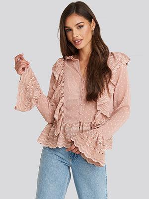 Blusar - NA-KD Boho Dobby Flounce Embroidery Blouse rosa