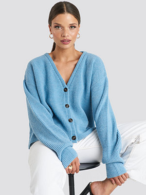 NA-KD Buttoned Knitted Cardigan blå