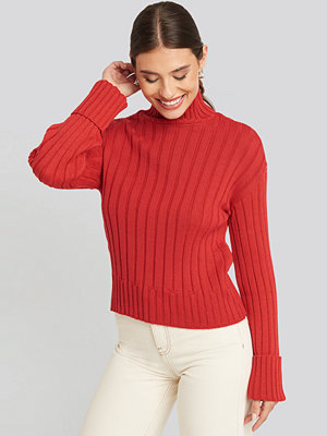 NA-KD Merino Wool Blend Ribbed Sweatshirt röd
