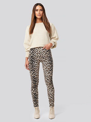 NA-KD Animal Printed High Waist Jeans beige /
