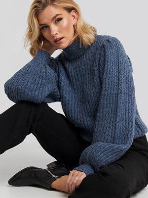 NA-KD Puff Sleeve Knitted Sweater blå