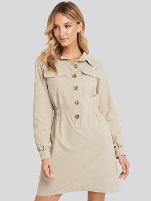 Trendyol Mini Buttoned Shirt Dress beige