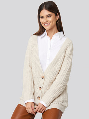 NA-KD Button Up Chunky Cardigan beige