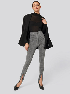 NA-KD Party Front Seam High Waist Lurex Leggings silver