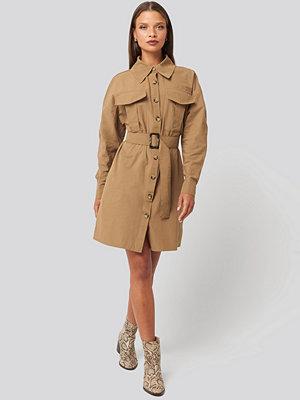 Trendyol Camel Belted Shirt Dress beige