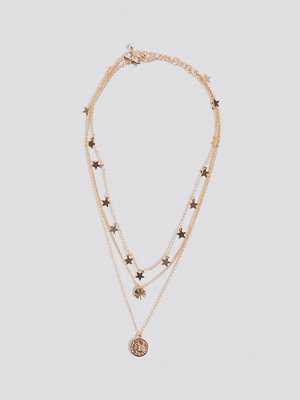 NA-KD Accessories smycke Star And Coin Layered Necklace guld
