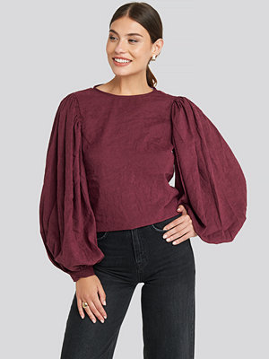 NA-KD Trend Puff Sleeve Round Neck Top lila