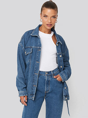 Trendyol Waist Binding Denim Jacket blå