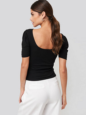 NA-KD Deep Back Puff Sleeve Top svart