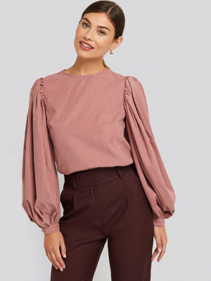 NA-KD Trend Puff Sleeve Round Neck Top rosa