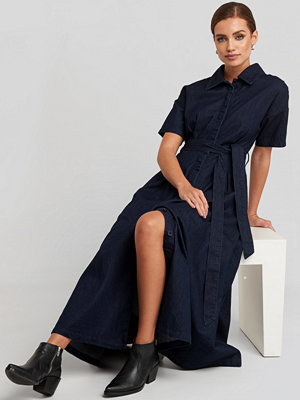 NA-KD Trend Short Sleeve Denim Dress blå