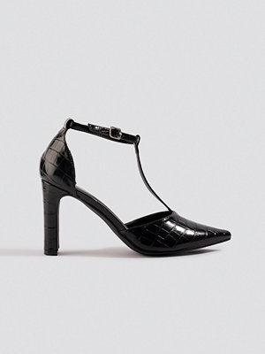 NA-KD Shoes Croco T Bar Pumps svart