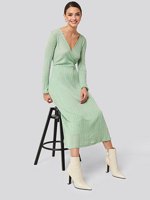 Mango Lurex Dress grön