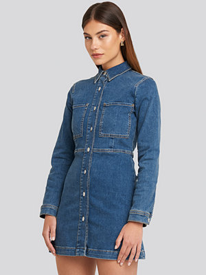 NA-KD Trend Denim Shirt Mini Dress blå
