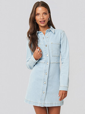 NA-KD Trend Denim Shirt Mini Dress blå