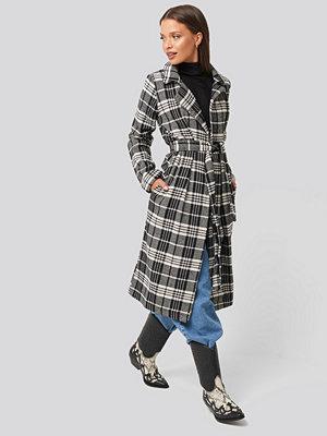 Trendyol Black Check Coat svart grå multicolor