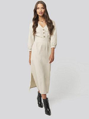 Trendyol Stone Buttoned Midi Dress beige