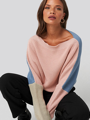 NA-KD Batwing Cropped Ribbed Sweater multicolor