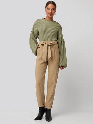 Trendyol omönstrade byxor Tied Belt Elastic Pants beige