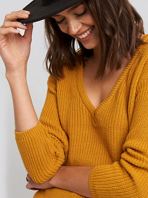 NA-KD Deep Front V-neck Knitted Sweater gul