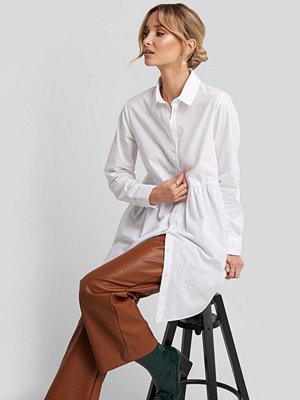 NA-KD Smock Shirt Mini Dress vit