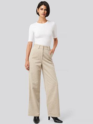 NA-KD Classic omönstrade byxor Corduroy Wide Leg Suit Pants beige
