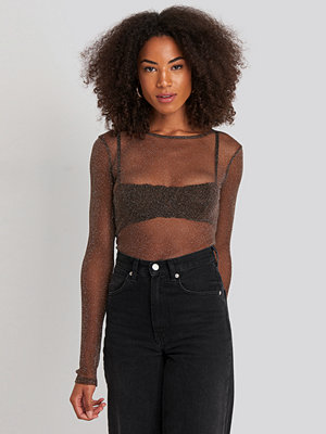NA-KD Party Ls Glitter Mesh Top brun