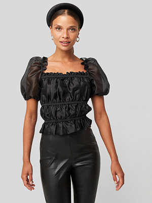Toppar - NA-KD Party Tape Detail Organza Top svart