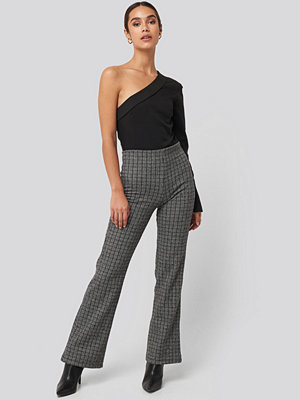Trendyol grå rutiga byxor Black Plaid Knitted Trousers grå