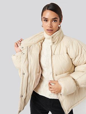 NA-KD Trend Elastic Detail Puffer Jacket beige