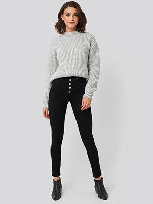 Jeans - Trendyol Front Button High Waist Skinny Jeans svart