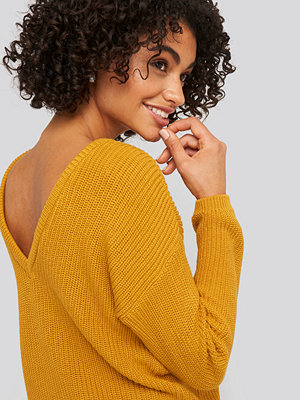NA-KD Knitted Deep V-neck Sweater gul