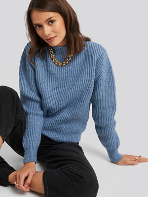 NA-KD High Neck Ribbed Knitted Sweater blå