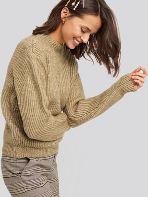 NA-KD High Neck Ribbed Knitted Sweater beige