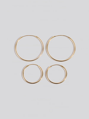 NA-KD Accessories smycke Gold Plated Slim Hoops guld