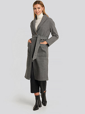 NA-KD Belted Long Coat multicolor