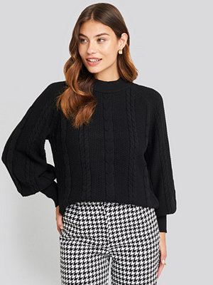 NA-KD Balloon Sleeve Cable Knitted Sweater svart