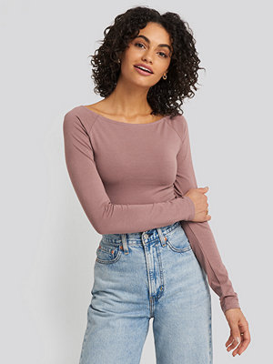NA-KD Basic Boat Neck Fitted Top rosa